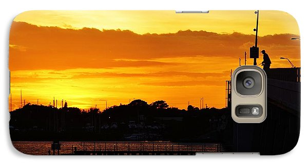 Galaxy Case featuring the photograph Fishing The Bridge At Sunset by Lynda Dawson-Youngclaus