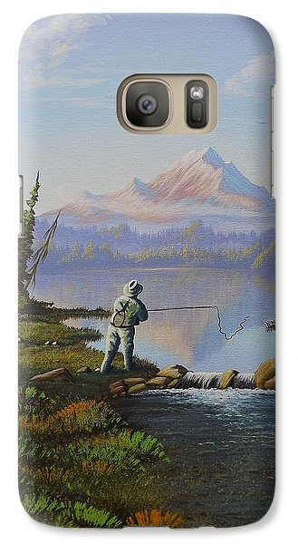 Galaxy Case featuring the painting Fishing The High Lakes by Richard Faulkner