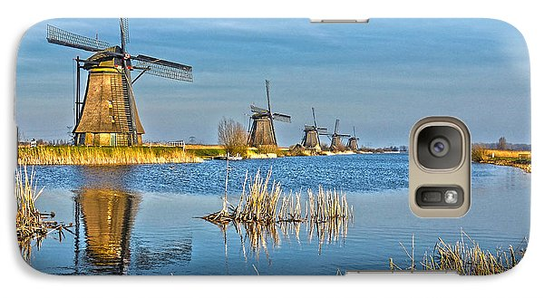 Galaxy Case featuring the photograph Five Windmills At Kinderdijk by Frans Blok