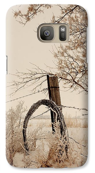 Galaxy Case featuring the photograph Fixing Fence by Shirley Heier