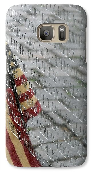 Galaxy Case featuring the photograph Flag On The Wall by Dawn Romine