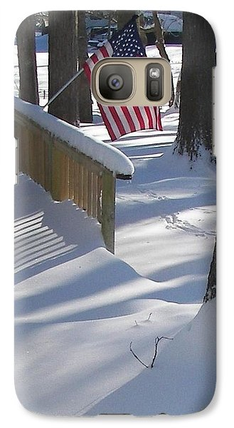 Galaxy Case featuring the photograph Flag Over Morning Snow by Pamela Hyde Wilson