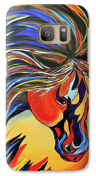 Galaxy Case featuring the painting Flame Bold And Colorful War Horse by Janice Rae Pariza