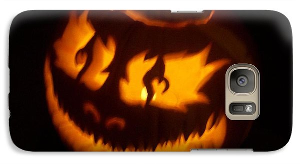 Galaxy Case featuring the sculpture Flame Pumpkin Side by Shawn Dall