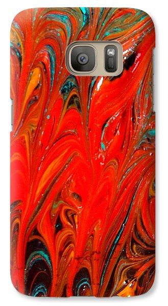Galaxy Case featuring the painting Flames by Carolyn Repka