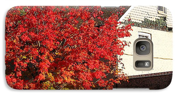 Galaxy Case featuring the photograph Flaming Fall Colours On Farm House by Nina Silver