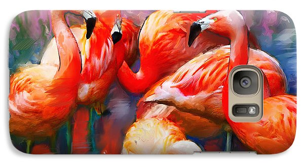 Galaxy Case featuring the painting Flaming Flamingos by Ted Azriel