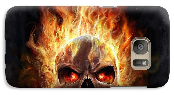 Galaxy Case featuring the digital art Flaming Skull by Steve Goad