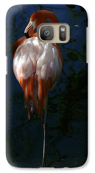 Galaxy Case featuring the photograph Flamingo In The Shadows by Myrna Bradshaw