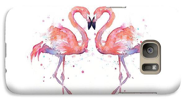 Flamingo Galaxy S7 Case - Flamingo Love Watercolor by Olga Shvartsur