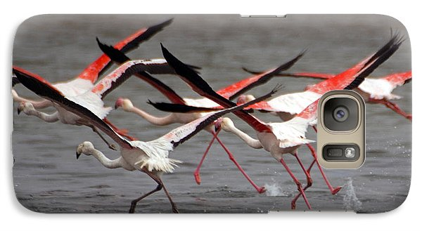 Galaxy Case featuring the photograph Flamingoes In Flight by Dennis Cox WorldViews