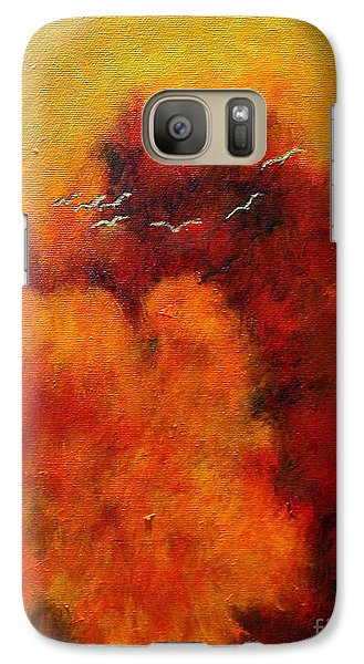 Galaxy Case featuring the painting Flight Of The White Birds by Alison Caltrider
