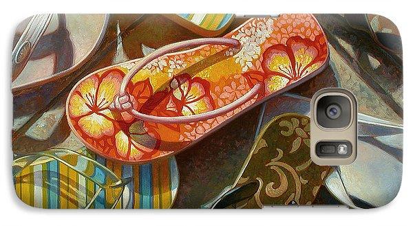 Galaxy Case featuring the painting Flip Flops by Mia Tavonatti