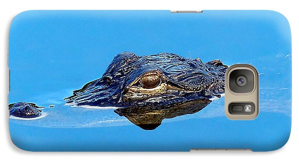 Galaxy Case featuring the photograph Floating Gator Eye by Chris Mercer