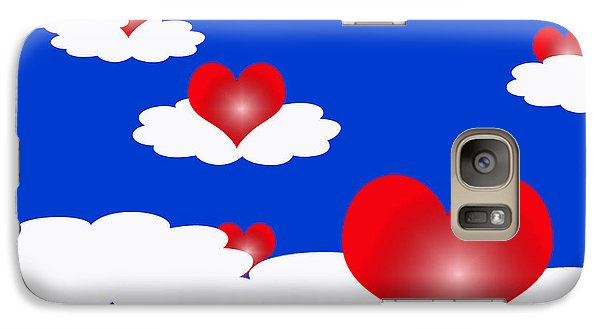 Galaxy Case featuring the digital art Floating Hearts by Rachel Lowry