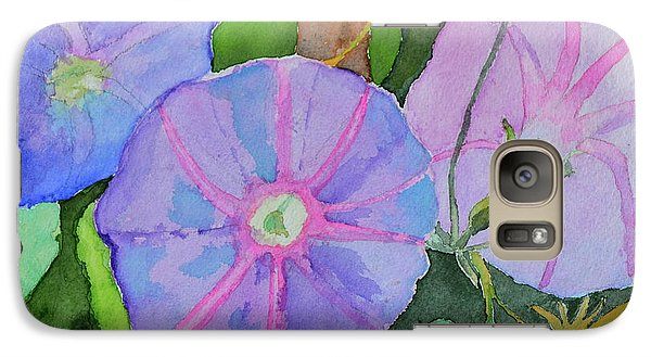 Galaxy Case featuring the painting Florence's Morning Glories by Beverley Harper Tinsley
