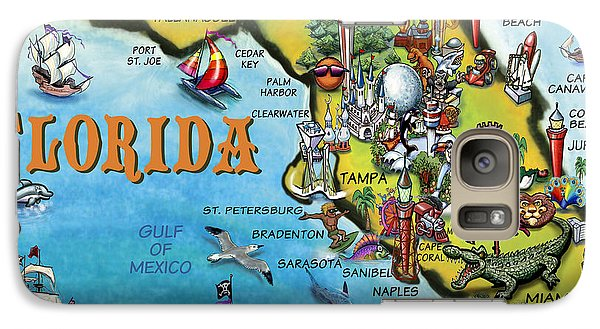Galaxy Case featuring the digital art Florida Cartoon Map by Kevin Middleton