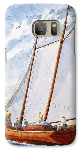 Galaxy Case featuring the painting Florida Catboat At Sea by Roger Rockefeller
