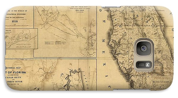 Florida State Galaxy S7 Case - Florida Map Art - Vintage Antique Map Of Florida by World Art Prints And Designs