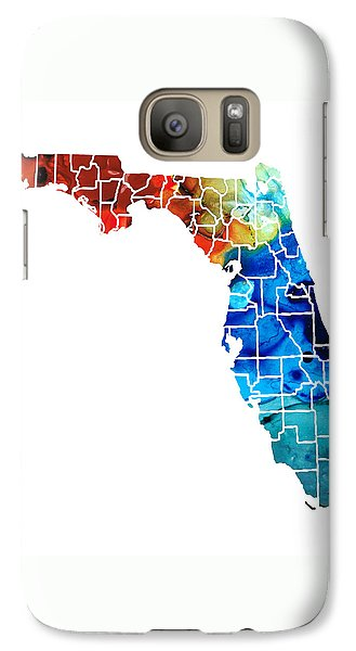 Florida - Map By Counties Sharon Cummings Art Galaxy S7 Case by Sharon Cummings