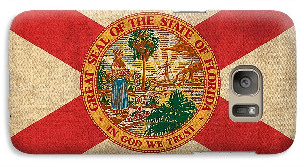 Florida State Flag Art On Worn Canvas Galaxy S7 Case by Design Turnpike