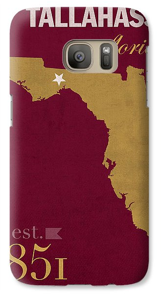 Florida State University Seminoles Tallahassee Florida Town State Map Poster Series No 039 Galaxy S7 Case by Design Turnpike