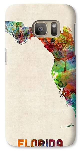 Florida Watercolor Map Galaxy S7 Case by Michael Tompsett