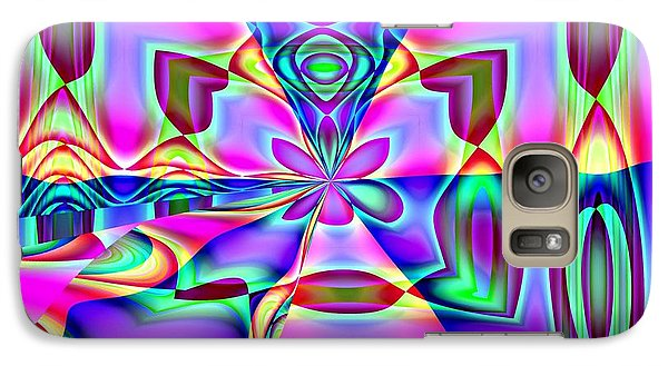 Galaxy Case featuring the digital art Flower And Hearts Modern Abstract Art Design by Annie Zeno