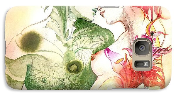 Galaxy Case featuring the painting Flower And Leaf by Anna Ewa Miarczynska