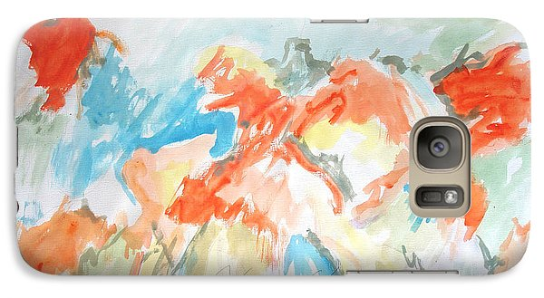 Galaxy Case featuring the painting Flower Bursts by Esther Newman-Cohen