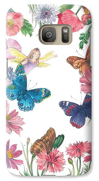 Galaxy Case featuring the painting Flower Fairy Illustrated Butterfly by Judith Cheng