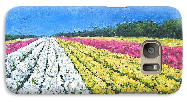 Galaxy Case featuring the painting Flower Fields by Cheryl Del Toro