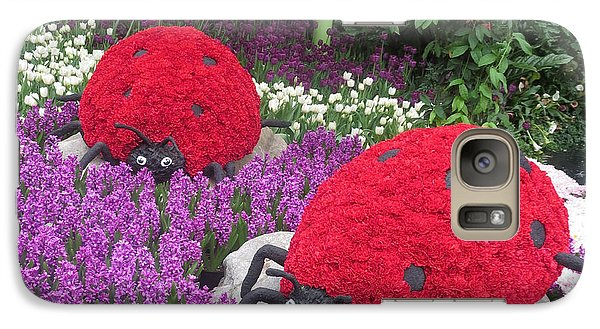 Galaxy Case featuring the photograph Flower Garden Ladybug Purple White I by Navin Joshi