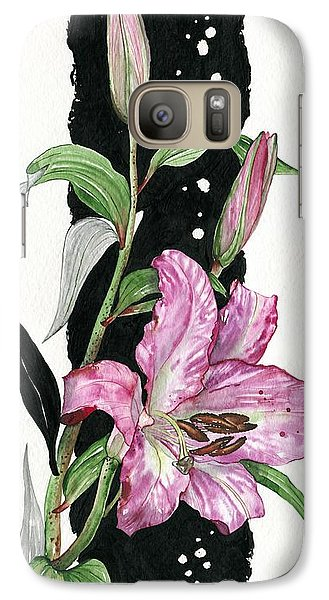 Galaxy Case featuring the painting Flower Lily 02 Elena Yakubovich by Elena Yakubovich