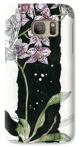 Galaxy Case featuring the painting Flower Orchid 04 Elena Yakubovich by Elena Yakubovich