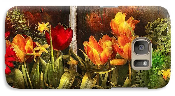 Garden Galaxy S7 Case - Flower - Tulip - Tulips In A Window by Mike Savad
