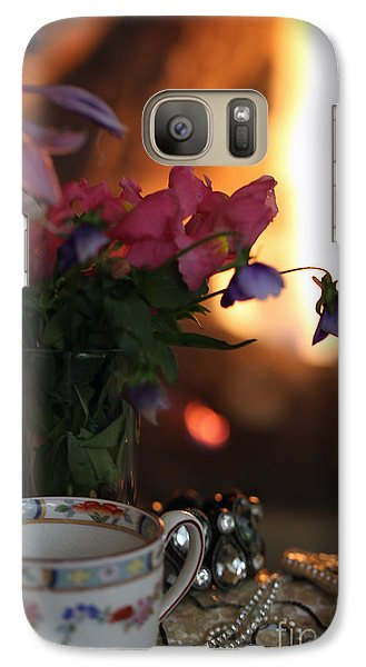 Galaxy Case featuring the photograph Flowers And Pearls Shabby Chic Wall Art by Kate Purdy