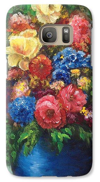 Galaxy Case featuring the painting Flowers by Bozena Zajaczkowska