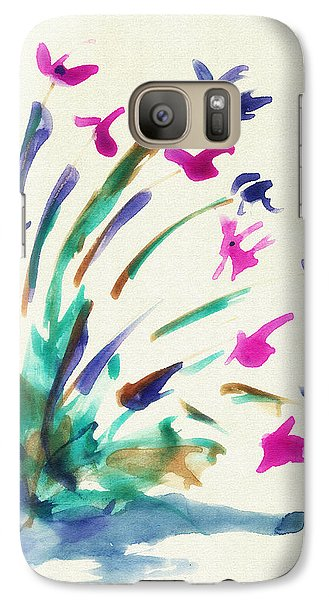 Galaxy Case featuring the mixed media Flowers By The Pond by Frank Bright