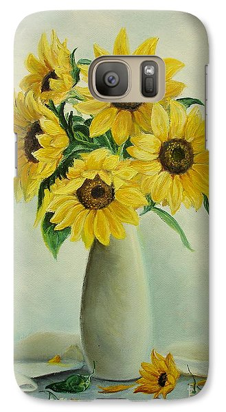 Galaxy Case featuring the painting Flowers For You by Sorin Apostolescu