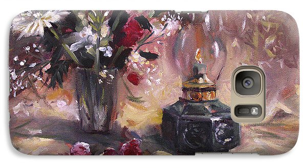 Galaxy Case featuring the painting Flowers With Lantern by Nancy Griswold