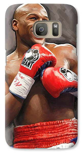 Galaxy Case featuring the painting Floyd Mayweather Artwork by Sheraz A
