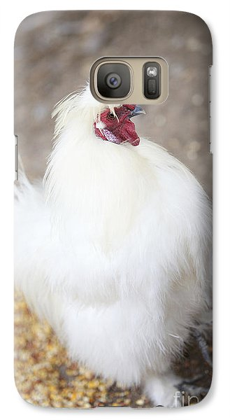 Galaxy Case featuring the photograph Fluffy White Hen by Erika Weber