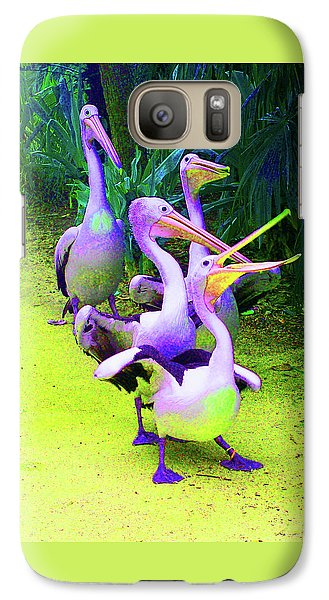 Galaxy Case featuring the photograph Fluorescent Pelicans by Margaret Saheed