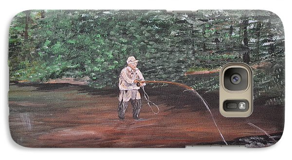 Galaxy Case featuring the painting Fly Fishing by Debbie Baker
