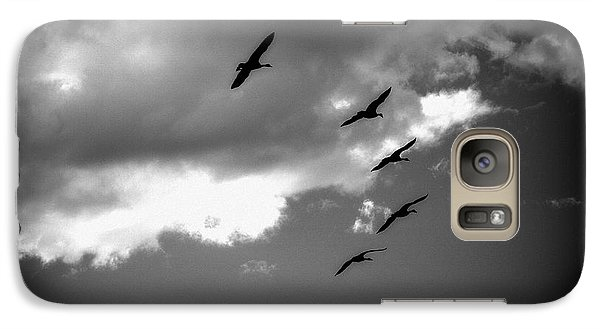 Galaxy Case featuring the photograph Flying Canada Geese by Michael Dohnalek