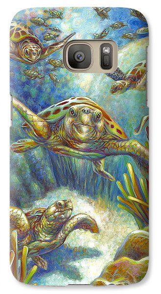 Galaxy Case featuring the painting Flying Loggerhead Turtles by Nancy Tilles