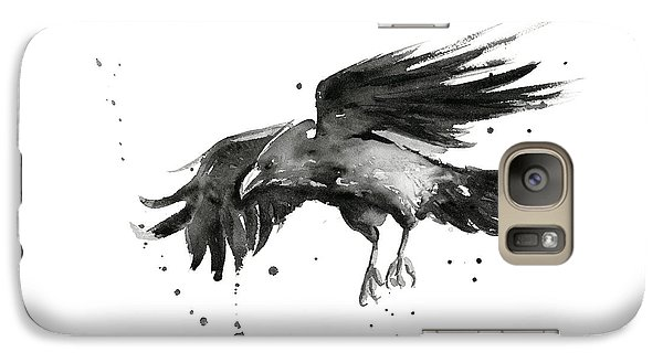 Raven Galaxy S7 Case - Flying Raven Watercolor by Olga Shvartsur