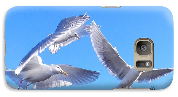 Galaxy Case featuring the photograph Flying Seagulls by Karen Molenaar Terrell
