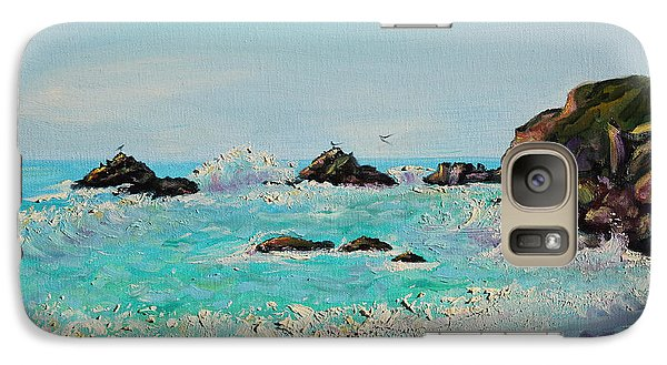 Galaxy Case featuring the painting Foamy Ocean Waves And Sandy Shore by Asha Carolyn Young